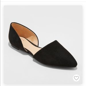 A New Day Rebecca pointed flats, black, NWT